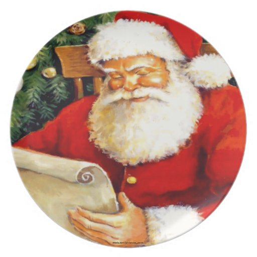 SANTA CLAUS WITH HIS LIST DINNER PLATE