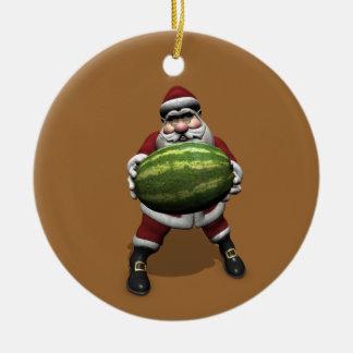 Santa Claus With Huge Watermelon Ceramic Ornament