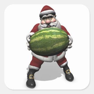 Santa Claus With Huge Watermelon Square Sticker