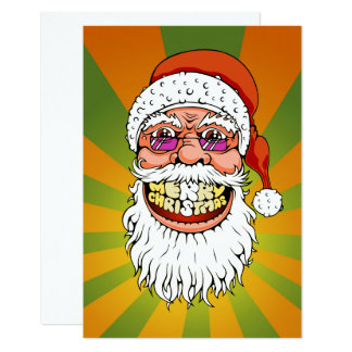 santa claus with merry christmas smile card