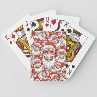 santa claus with merry christmas smile playing cards