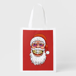 santa claus with merry christmas smile reusable grocery bag