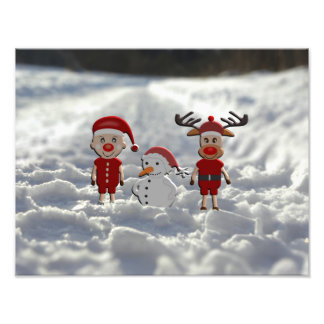 Santa Claus with merry moose and schneemann Photo Print