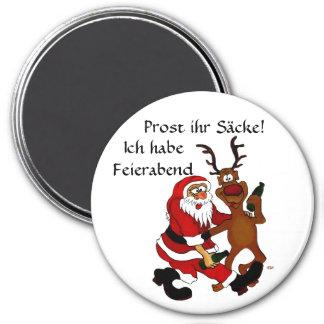 Santa Claus with moose 7.5 Cm Round Magnet