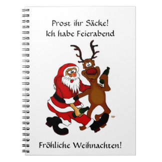 Santa Claus with moose - Prost it bags! Spiral Notebooks