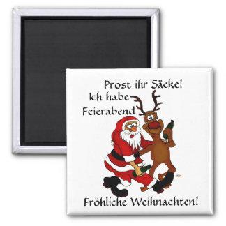Santa Claus with moose Square Magnet