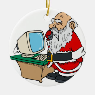 santa claus with phone and computer ceramic ornament