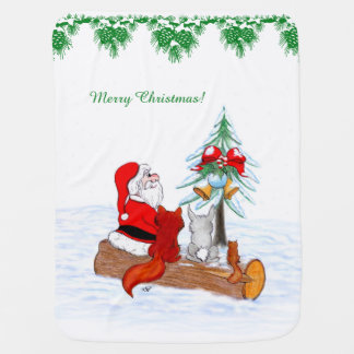 Santa Claus with Rabbit Fox and Squirrel Baby Blanket