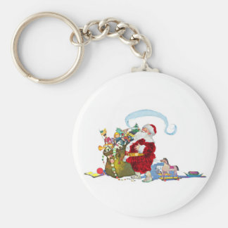 Santa Claus With Sack Of Toys Keychain