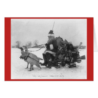 Santa Claus with sled drawn turkeys Card