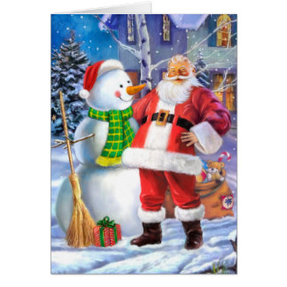 Santa Claus with snowman Card