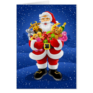 Santa Claus With Toys Card