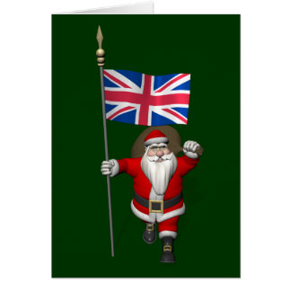 Santa Claus With Union Flag Of The UK Card