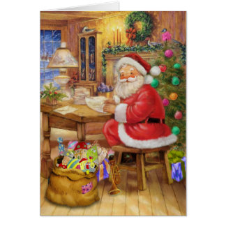 Santa Claus working on his desk Card