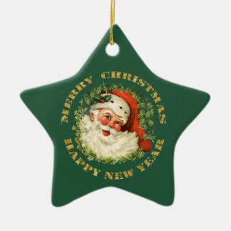 Santa Claus Wreath Ceramic Ornament