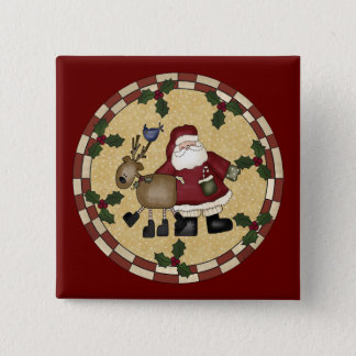 Santa Clause and Reindeer Christmas Button
