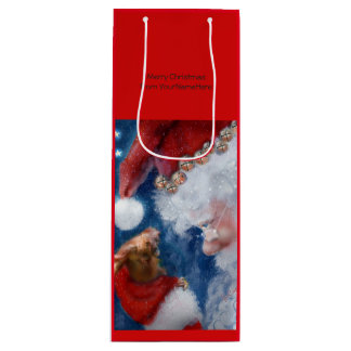 Santa Clause Animal Lover Christmas Wine Gift Bag