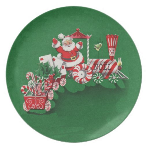 Santa Clause Candy Train Party Plate