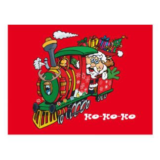 Santa Clause coming to town on his Locomotive Postcard