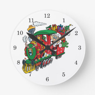 Santa Clause coming to town on his Locomotive Round Clock