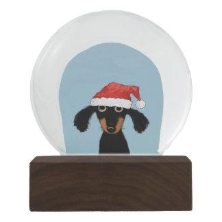 Santa Clause Dachshund - Funny Dog with Santa Hat Snow Globe
