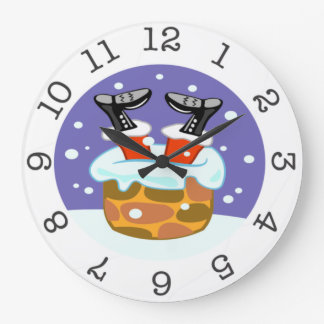 santa clause down the chimney wall clock