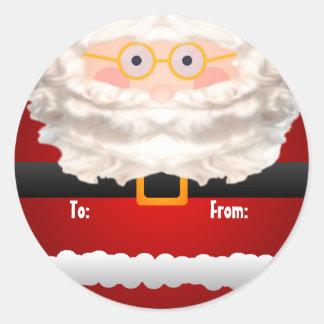 Santa Clause Gift Tag Round Sticker