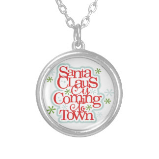 Santa Clause is Coming to Town Christmas Silver Plated Necklace
