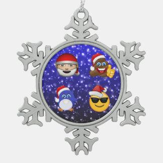 Santa Clause, Poop, Penguin and Poop Emoji Gift Snowflake Pewter Christmas Ornament