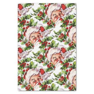 "Santa clause vintage holly elegant 10"" x 15"" tissue paper"