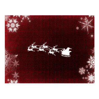 Santa Claus's Reindeer Dark Red And White Postcard
