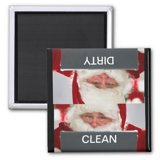 Santa Clean Dirty Christmas Dishwasher Magnet