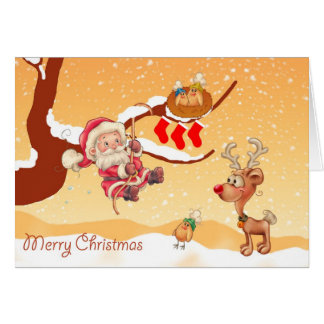 Santa Climbing A Tree To Give Gifts Card