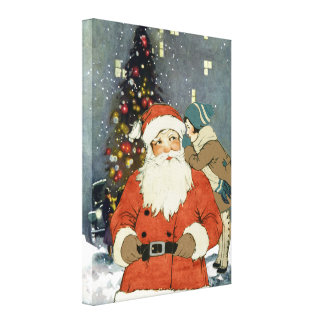 """""""SANTA COMES TO TOWN"""" VINTAGE CHRISTMAS COLLAGE CANVAS PRINT"""