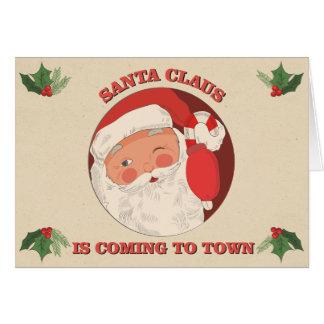 Santa Coming to Town Card