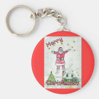 Santa Commeth Basic Round Button Key Ring