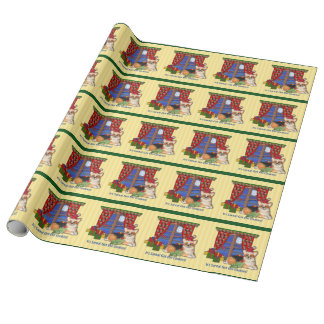 Santa Corgi Wrapping Paper Tri-Color