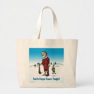 Santa Corpse Funny Zombie Cartoon Jumbo Tote Bag
