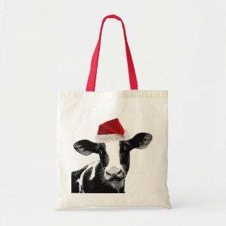Santa Cow - Dairy Cow wearing Santa Hat Bags
