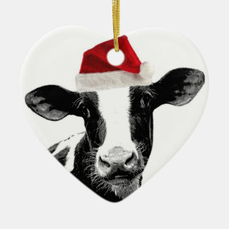 Santa Cow - Dairy Cow wearing Santa Hat Ceramic Heart Decoration