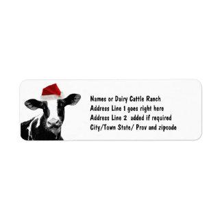 Santa Cow - Dairy Cow wearing Santa Hat Return Address Label