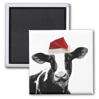Santa Cow - Dairy Cow wearing Santa Hat Square Magnet