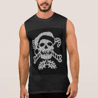 Santa Crossbones Skull in Ugly Sweater Style Sleeveless Tees