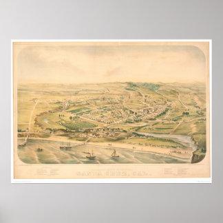 Santa Cruz, CA. Panoramic Map (1586A) - Unrestored Poster