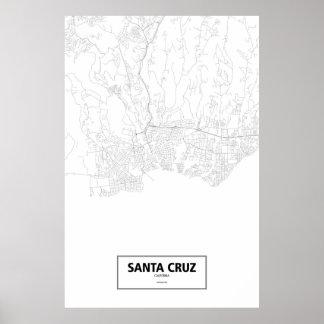 Santa Cruz, California (black on white) Poster