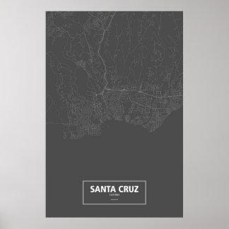 Santa Cruz, California (white on black) Poster