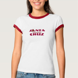 Santa Cruz, California - with red Sailboat Icon T-Shirt