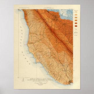 Santa Cruz quadrangle showing intensity, faults Poster