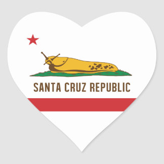 Santa Cruz Republic Banana Slug Flag Heart Sticker