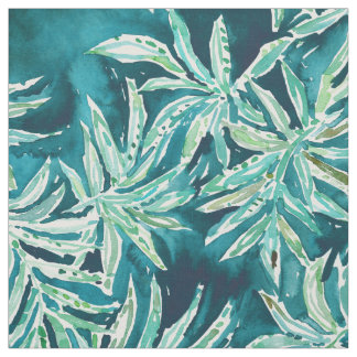SANTA CRUZIN' Navy Tropical Palm Leaves Fabric